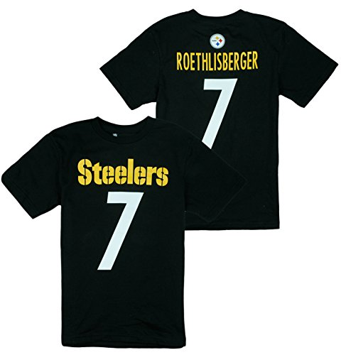Pittsburgh Steelers NFL Big Boys Ben Roethlisberger # 7 Player Shirt - Black (Large (10/12)) - Ben Short Sleeve T-shirt