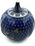 Polish Pottery 9¼-inch Jack O Lantern Candle Holder (Greek Key Theme) + Certificate of Authenticity
