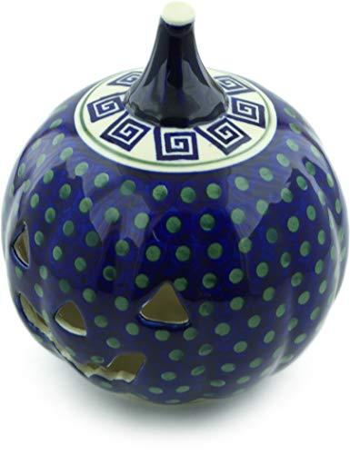 Polish Pottery 9¼-inch Jack O Lantern Candle Holder (Greek Key Theme) + Certificate of -