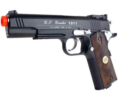 500 fps new full metal wg airsoft m 1911 gas co2 hand gun pistol w/ 6mm bb bbs(Airsoft Gun) - 1911 Co2 Pistol