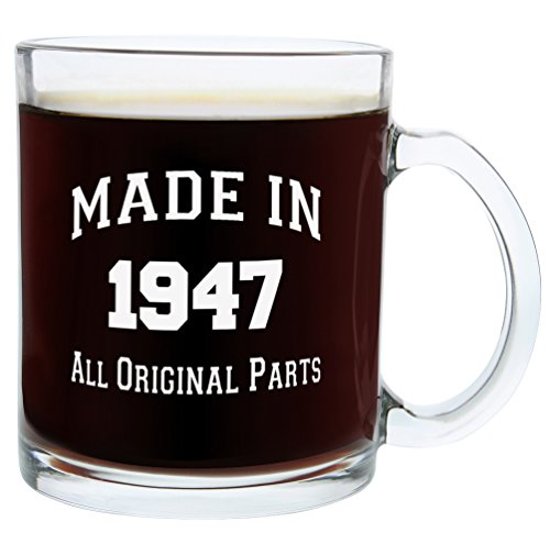 Gifts for 70th Birthday Gifts for Men Made 1947 70th Birthday Party Supplies Gift Glass Coffee Mug Tea Cup White