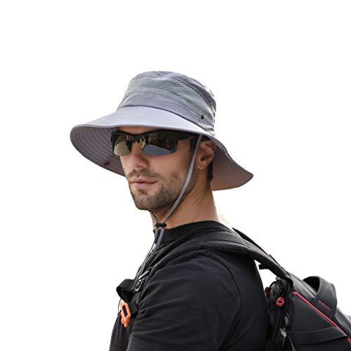 Fleece Braid Hat - Sunyastor Summer Sun Hat Mesh Boonie Hat Adjustable Bucket Hats Sun Protection Hat Outdoor Cap Hat Fishing Hat for Men Gray