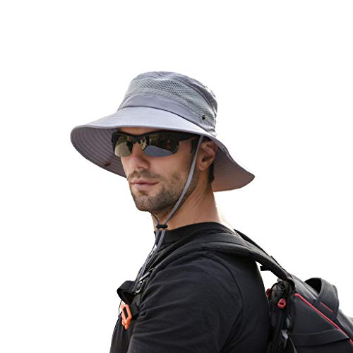 Wholesale Chinese Dresses - Sunyastor Summer Sun Hat Mesh Boonie Hat Adjustable Bucket Hats Sun Protection Hat Outdoor Cap Hat Fishing Hat for Men Gray