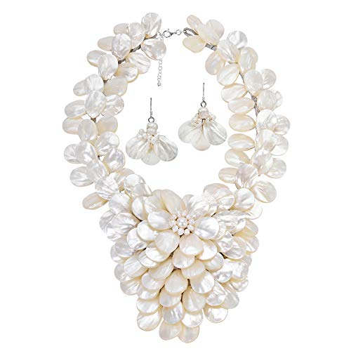 AeraVida Ocean's Elegance White Mother of Pearl & Cultured Freshwater White Pearl Floral Jewelry Set ()