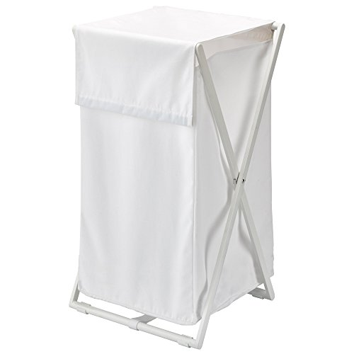 Nova Bath Collection Icon Foldable Hamper Laundry Organizer Basket with Removable and Washable Bag (White)