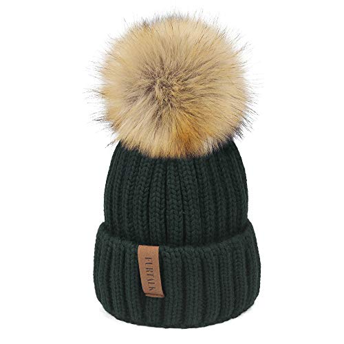 a2e6c56b4eb Womens Knitted Winter Pom Beanie Hat Faux Fur Pom Pom bobble Hat beanie for  girls