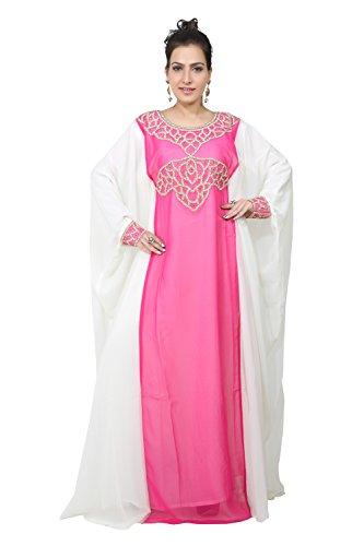 Vestido largo islámico islámico Kaftan árabe de Farasha de los hombres de los UAE Style de Bedi - tamaño único - (KAF-2611) Hot Pink