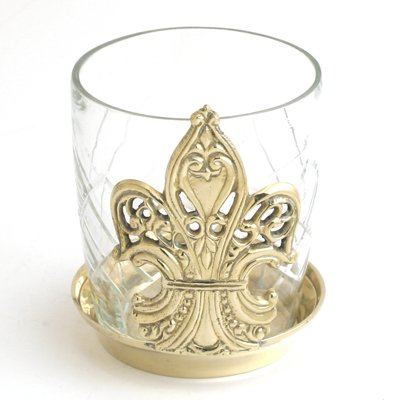 Brass Victorian Fleur de Lis Votive Candle Holder - Set of 3