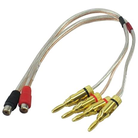 16 awg speaker wire pair with rca female black u0026 red to 2 pair