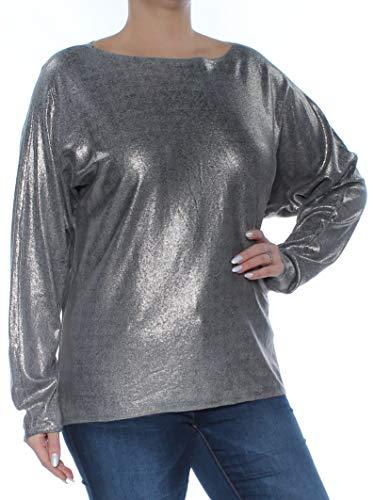 Lauren Cardigan Cashmere - LAUREN RALPH LAUREN Womens Metallic Sparkly Sweater Silver L