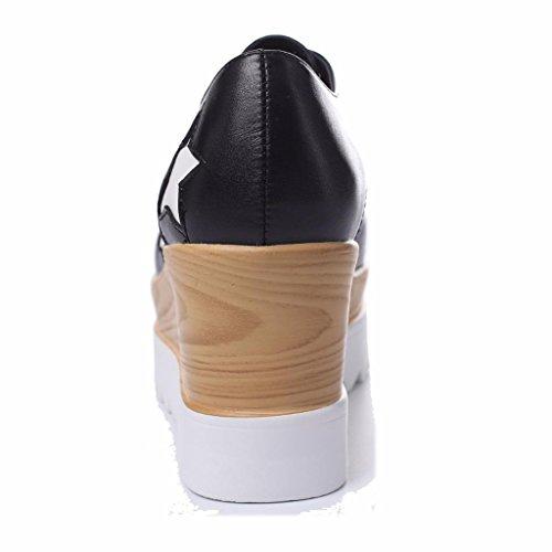 Mujer Moonwalker Puntera Cuadrada Cu con a en Estrellas de Negro1 Zapatos Cuero faqxwF4