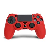 HDE PS4 Controller Skin Protective Case Cover Silicone Grip for PlayStation Dualshock 4 Gaming Controllers (Red)