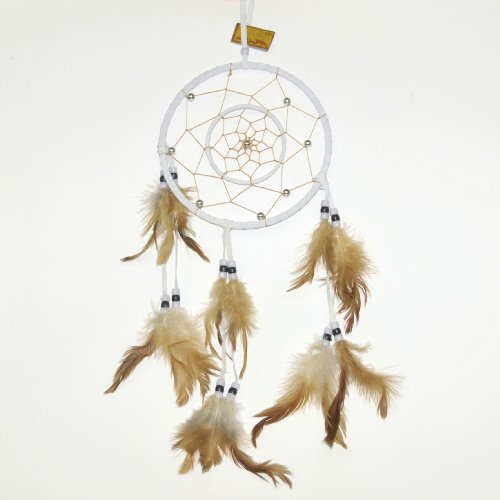 Double-Ring Earthtone Dreamcatcher, Light Grey/Off-White, Beads & Feathers, 20-inch ()