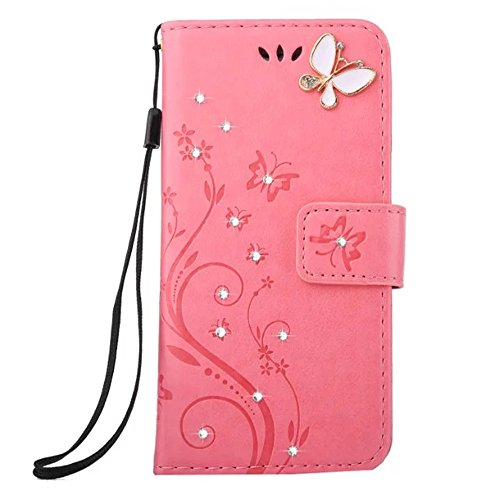 Samsung Galaxy J3 2017 Wallet Case Handmade Bling Crystal Rhinestone Butterfly PU Leather Magnetic Flip Case Stand Cover with Card Holders  Hand Stra…