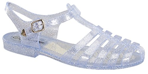 Forever New Women Summer Round Toe T-Strap Retro Beach Jelly Rainbow Clear Glitter Rain Flat Sandal (8.5, Clear)