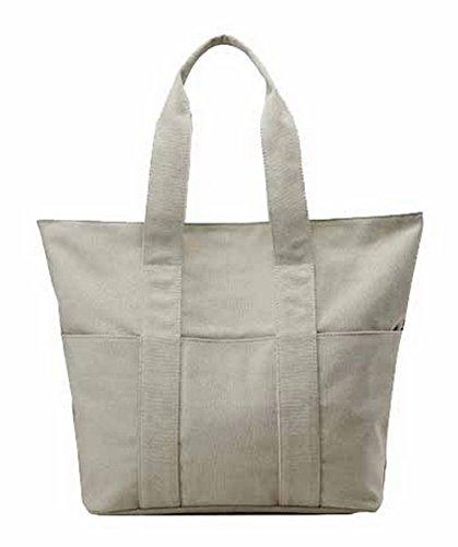 Voguezone009 Everyday Life Women Hand Bags Buyer Zipper Canvas, Beige Ccaybp180752
