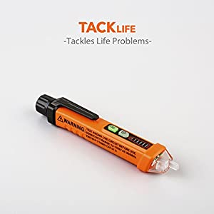 Tacklife VT01 Non-Contact Voltage Tester Detector with LED Flashlight 12V-1000V Voltage Pen with Alarm Mode & Live/Null Wire Judgment