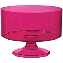 Amscan Medium Plastic Trifle Container Party Tableware, 80 oz, Bright Pink