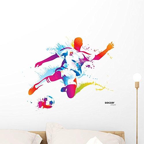 Soccer Player Peel - Wallmonkeys WM237301 Soccer Player Kicks The Ball Peel and Stick Wall Decals (24 in W x 19 in H), Medium