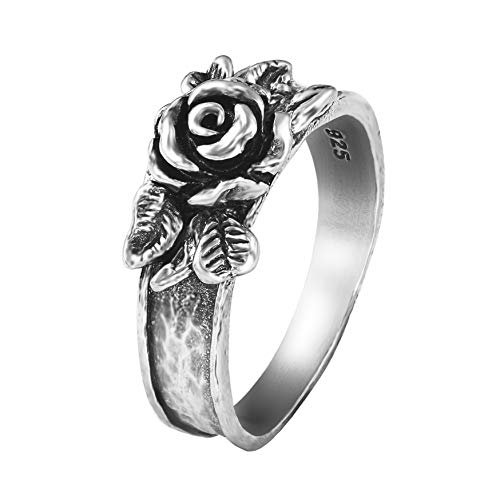 - PZ Paz Creations .925 Sterling Silver Rose Flower Ring (Silver, 6)