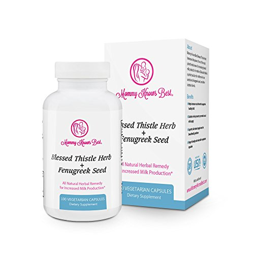 Fenugreek and Blessed Thistle Lactation Aid Support Supplement for Breastfeeding Mothers - 100 Vegetarian Capsules ()