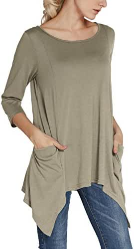 Urban CoCo Women's Plus Size Pocket Tunic Tops 3/4 Sleeve Shirt