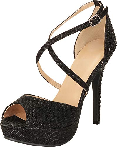 Cambridge Select Women's Peep Toe Crisscross Ankle Strappy Rhinestone Crystal Beaded Platform Stiletto Heel Dress Sandal (8 B(M) US, Black)