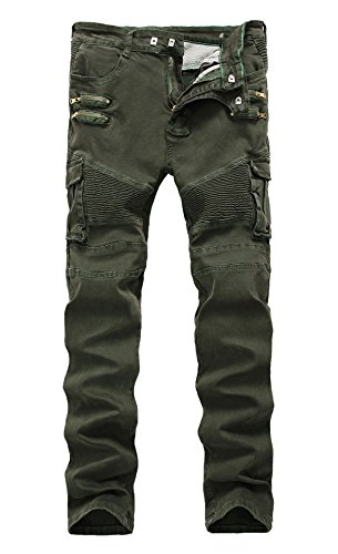 LAMCORD Men's Biker Skinny Slim Fit Stretch Crinkle Cargo Pants Denim Jeans, Sage Green, - Denim Crinkle