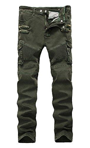 LAMCORD Men's Moto Biker Jeans Skinny Slim Fit Stretch Pants Denim Jeans