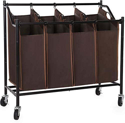 SONGMICS 4-Bag Rolling Laundry Sorter Cart Heavy-Duty Sorting Hamper W'Brake Casters Brown URLS90Z (Laundry Sorting Rack)