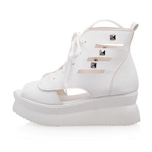 AgooLar Women's PU Solid Lace-up Open Toe Kitten-Heels Sandals White eyl4T