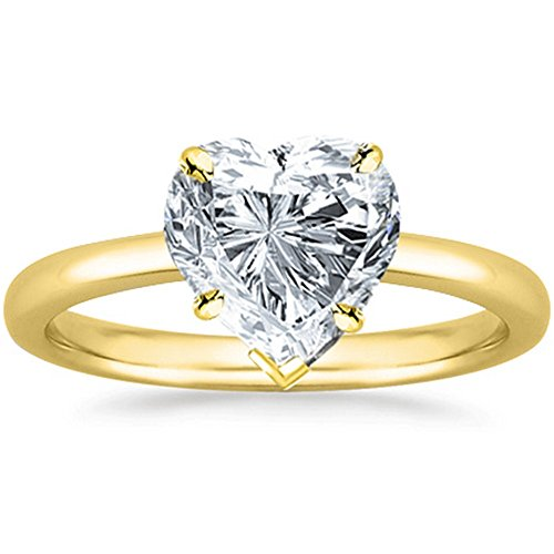 0.46 Ct Heart Cut Solitaire Diamond Engagement Ring 14K Yellow Gold (H Color SI1 Clarity) ()