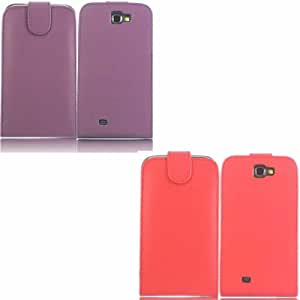 2 Pack Voltear Concha Caso Cubrir Para Samsung Galaxy Note 2 N7100 / Purple And Red