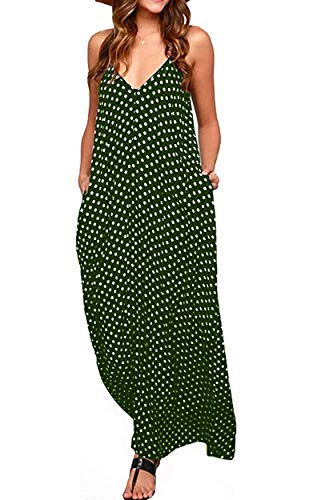 OURS Women's Bohemian Sleeveless Polka Dots Maxi Dresses Adjustable Spaghetti Straps Summer Long Dresses with Pockets (G, S)