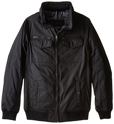 (Tommy Hilfiger Men's Big-Tall Polytwill Two Pocket Bomber Jacket, Black, 2X-Large/Tall)