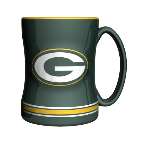 NFL Green Bay Packers Sculpted Relief Mug, 14-ounce, Dark Green - Green Bay Packers Ceramic