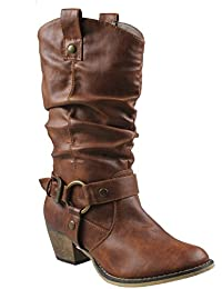 Women's Mid Calf Cowboy Boots Distressed Slouchy O-Ring...