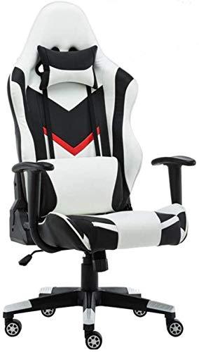 Spelstol, kontorsstol, läderfåtölj, racerstol, nackstöd, armstöd, fotstöd, roterbar universell uppgift knästol