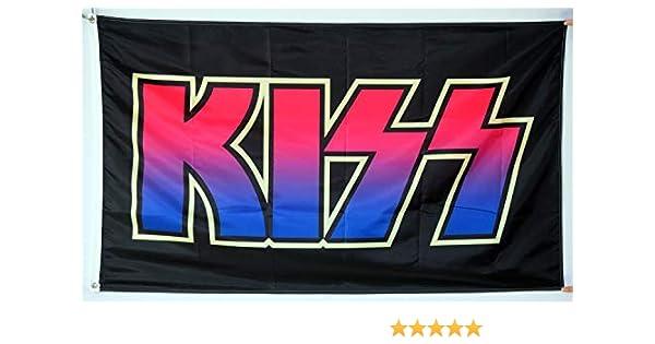 Annfly Kiss - Bandera de Rock y Rollo de música (3 x 5 pies): Amazon.es: Jardín