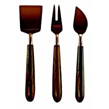 Handmade Copper and Wood Cheese Set (Set of 3)