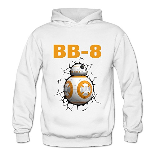 Price comparison product image Seico Women Stay Cute BB8 Robot Sweatshirt Hoody Hood Shirt White Size M