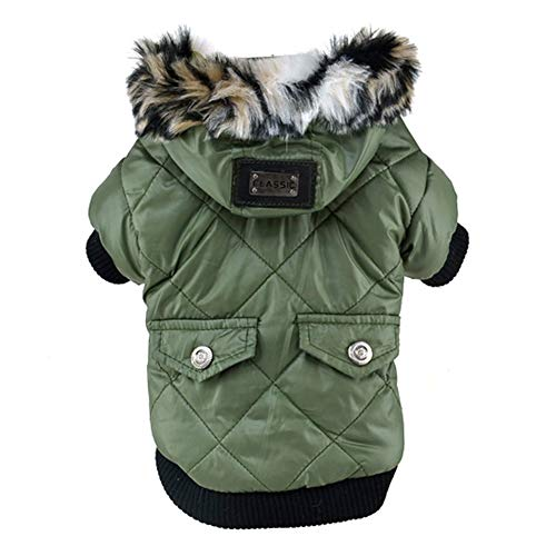 Norbi Dog Faux Pockets Hooded Jacket Warm Winter Coat Snowsuit for Small Dog(Army Green) ()
