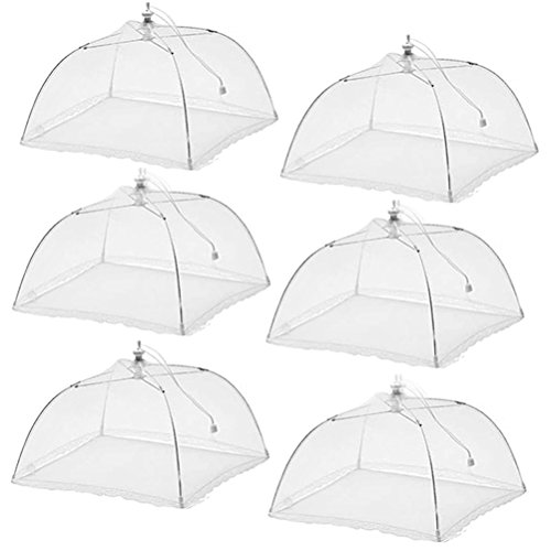 (6 Pack)Esfun Large Pop-Up Mesh Screen Food Cover Tent Umbrella, 17 inch, Reusable and Collapsible Outdoor Picnic Food Covers Mesh, Food Cover Net Keep Out Flies, Bugs, (Food Net)