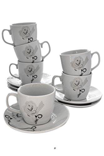 Set 6 Elegant Grey/Silver Roses Porcelain Demitasse Espresso Cups with Saucers
