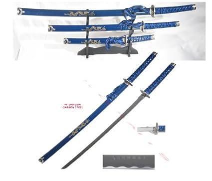 Amazon.com: 3 pieza japonés Samurai Katana espada Set Ninja ...