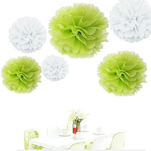Since ® 12pcs 8inch 10 inch 14 inch Tissue Paper Pom-poms White Lime green Outdoor Decoration Tissue Paper Pom Poms Party Balls Wedding Christmas Xmas Decoration