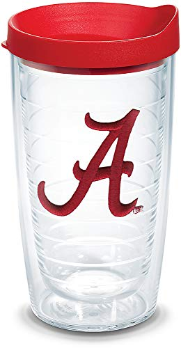 Tervis 1084185 Alabama Crimson Tide Script A Tumbler with Emblem and Red Lid 16oz, Clear