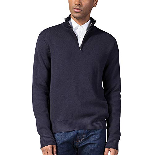 Kallspin Mens Relax Fit YKK Quarter Zip Mock Neck Wool Cotton Sweater Pullover with YKK Zipper (XL, Navy Blue)
