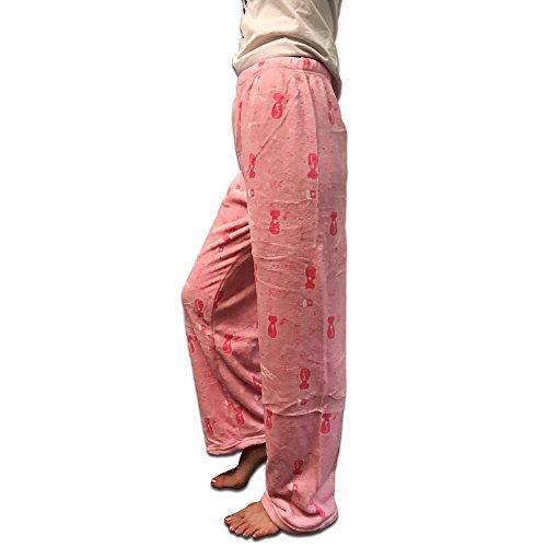K.HOSIERY Women's Cozy and Warm Fleece Plush Pajama Pants - Cat Pink
