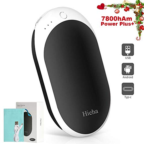 Hieha Hand Warmers Rechargeable, 7800mAh Portable USB Hand Warmer & Power Bank, Upgraded Double-Sided Heating Pocket Warmers with High Capacity, Best Winter Gifts